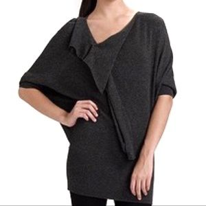 Vince cashmere ruffle neck batwing Sleeve sweater